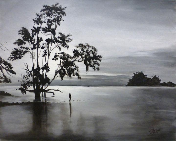 Lake Fishing - 16x20 acrylic