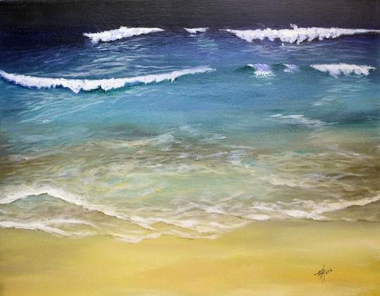 Ocean Ripple onto Beach - 11x14 acrylic