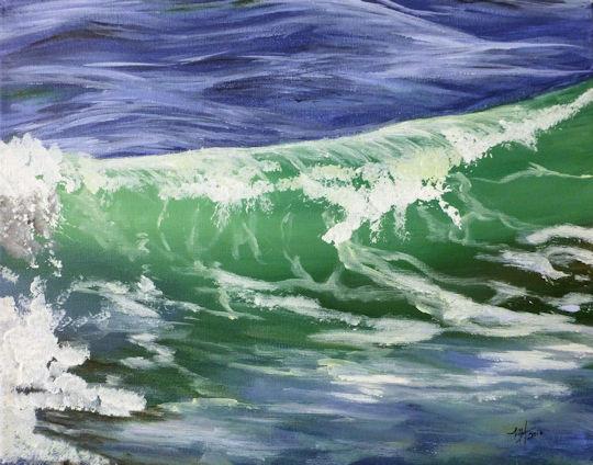 Green Ocean Wave - 11x14 acrylic