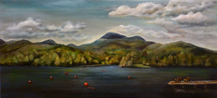 Mt Greylock from Pontoosuc Lake - 11x24 acrylic