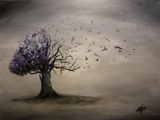 Bird Tree - 18x24 acrylic