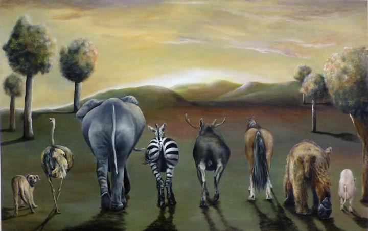 Animal Butts - 27x46 acrylic