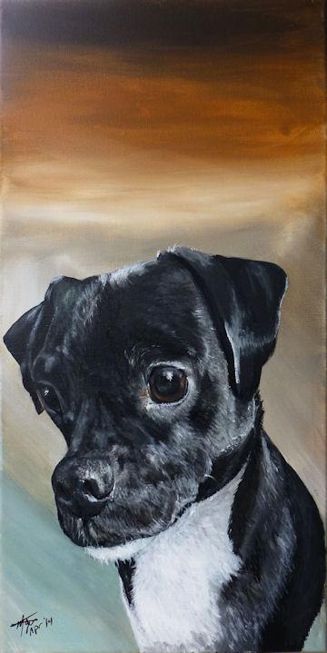 Chowder the Pug Terrier - 12x24 acrylic