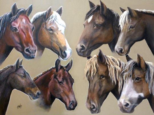 Eight Horses - 18x24 acrylic