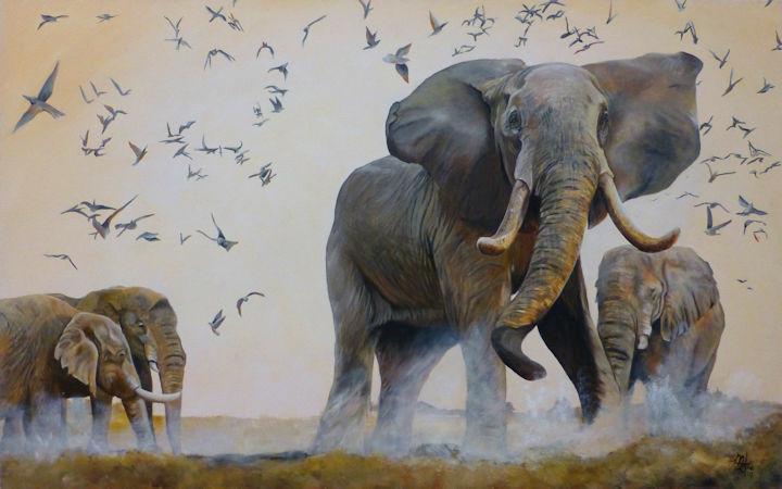 Elephants - 30x48 acrylic