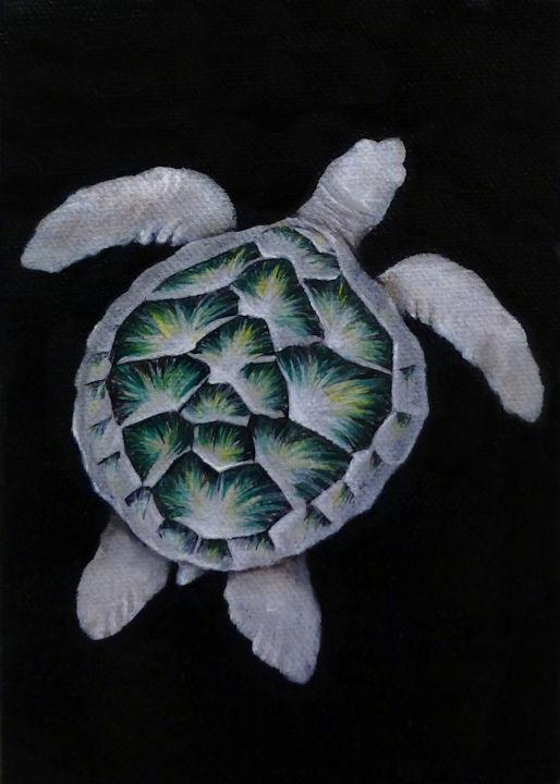 Right Sea Turtle - 5x7 acrylic