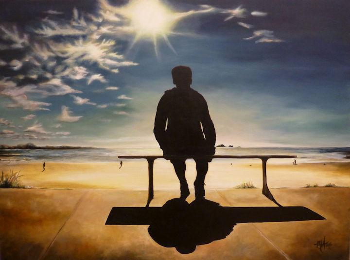 Man on Bench at Beach - 30x40 acrylic