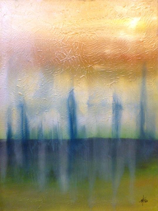 Misty Landscape #1 - 18x24 mixed media