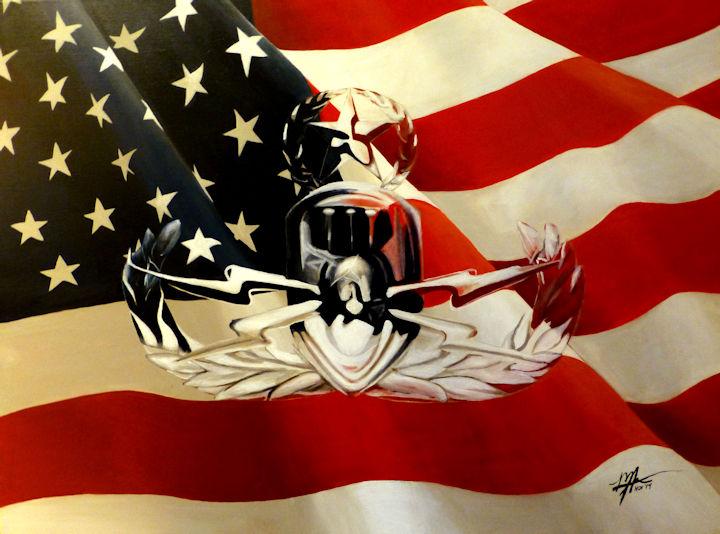 American Flag with EOB Badge - 30x40 acrylic