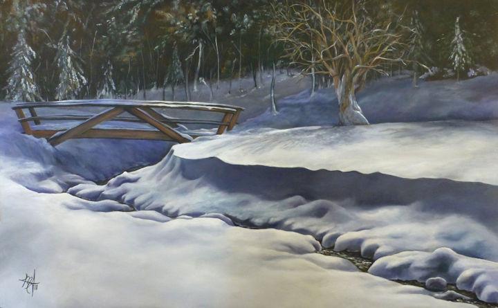 Winter in Blandford, MA - 48x30 acrylic