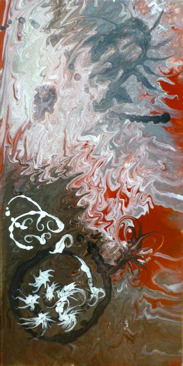 Sienna Abstract 2 - 12x36 acrylic
