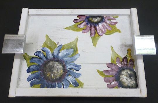 Blue-Burgundy Flower Tray