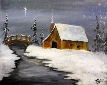 Winter Barn with Bridge