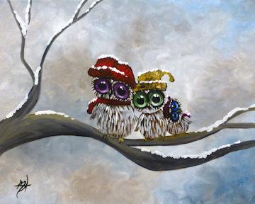 Winter Owls on Branch