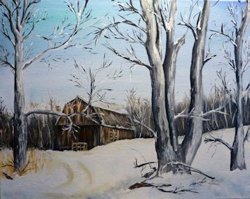 Winter Barn in Woods