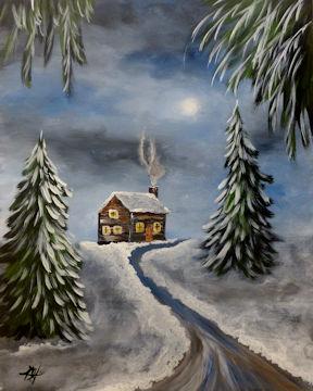 Winter Cabin in Woods