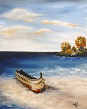 Boat on Autumn Beach