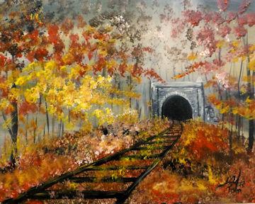Autumn Hoosac Tunnel Train Tracks