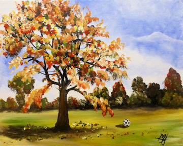 Autumn Maple Tree with Soccer Ball
