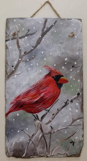 Snowy Cardinal on Slate