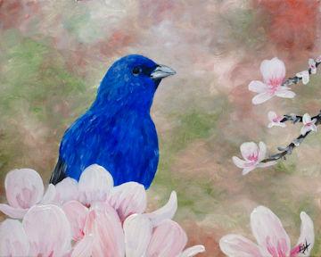 Magnolia Indigo Bunting Bird