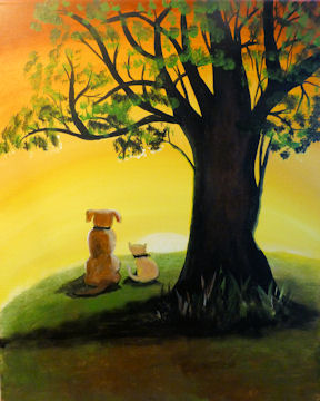 Dog and Cat Sunset