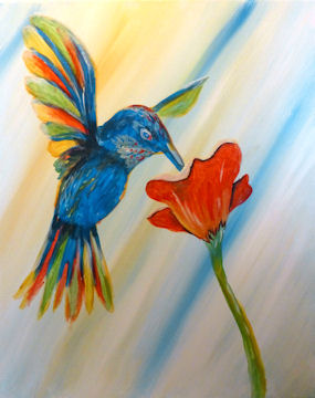 Hummingbird and Red Flower