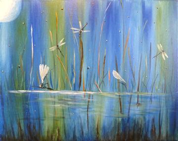 Moonlit Dragonfly Pond
