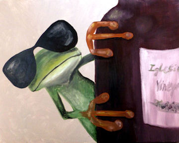 Frog and Wine Bottle