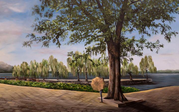 Asian Park - 48x30 - acrylic