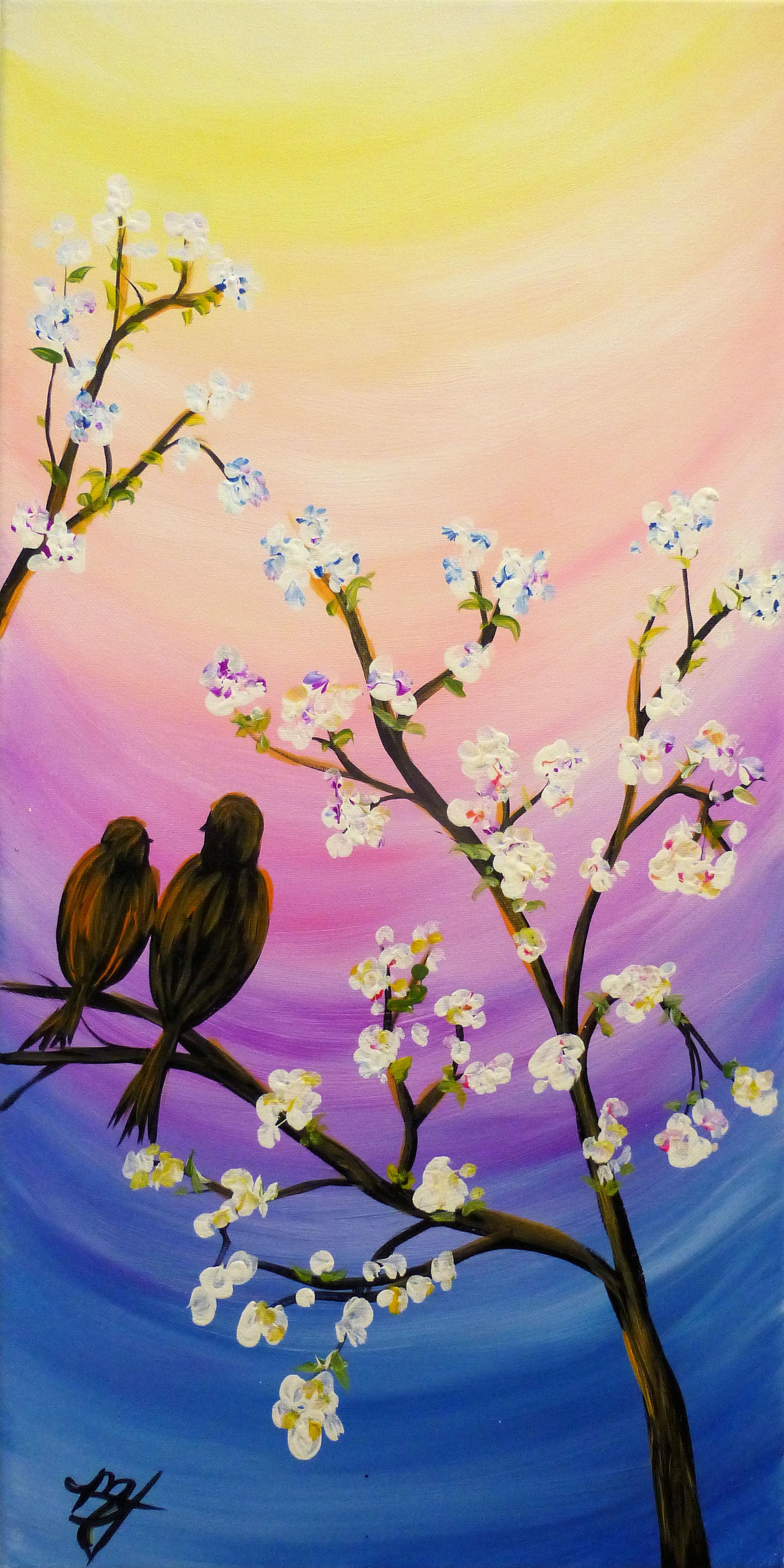 Rainbow Blossoming Birds