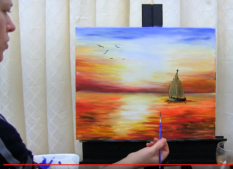 LEARN TO PAINT AN OCEAN SAILBOAT SUNSET - Video - Image