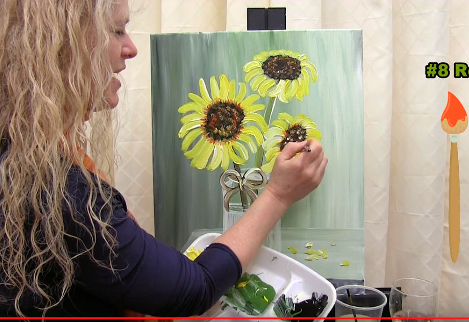 "LEARN TO PAINT ""SUNFLOWERS IN A VASE"" - Video - Image"