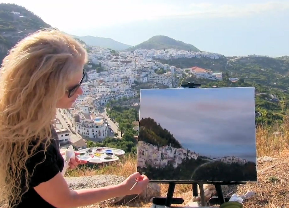 HOW TO PAINT HILLSIDE SPANISH TOWN - Video - Image