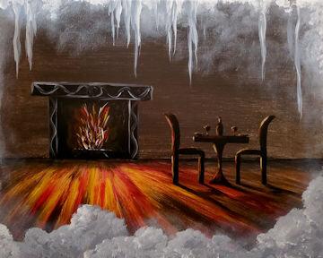 Wintry Fireplace Window