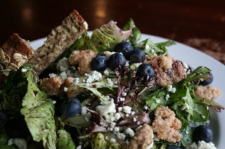 Blueberry Salad with Toasted Walnuts and Bleu Cheese