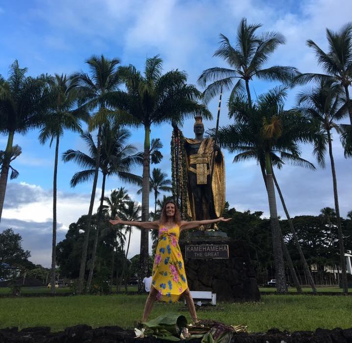 Yahavah in front of King Kamehameha Statue, in Hilo Hawaii
