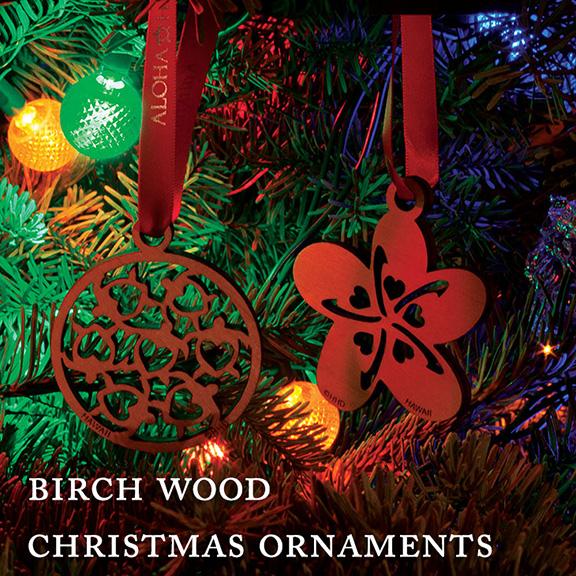Birch Wood Christmas Ornaments