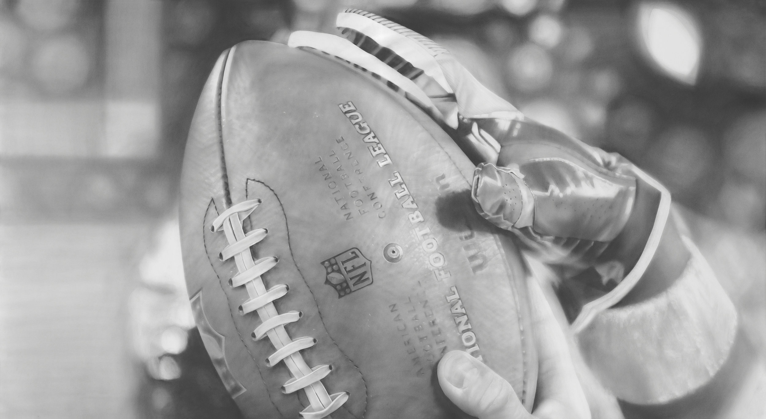 """""""Game Ball"""", Graphite on paper, 50 x 90 inches. Commission for the Minnesota Vikings TCO Performance Center. 2018."""