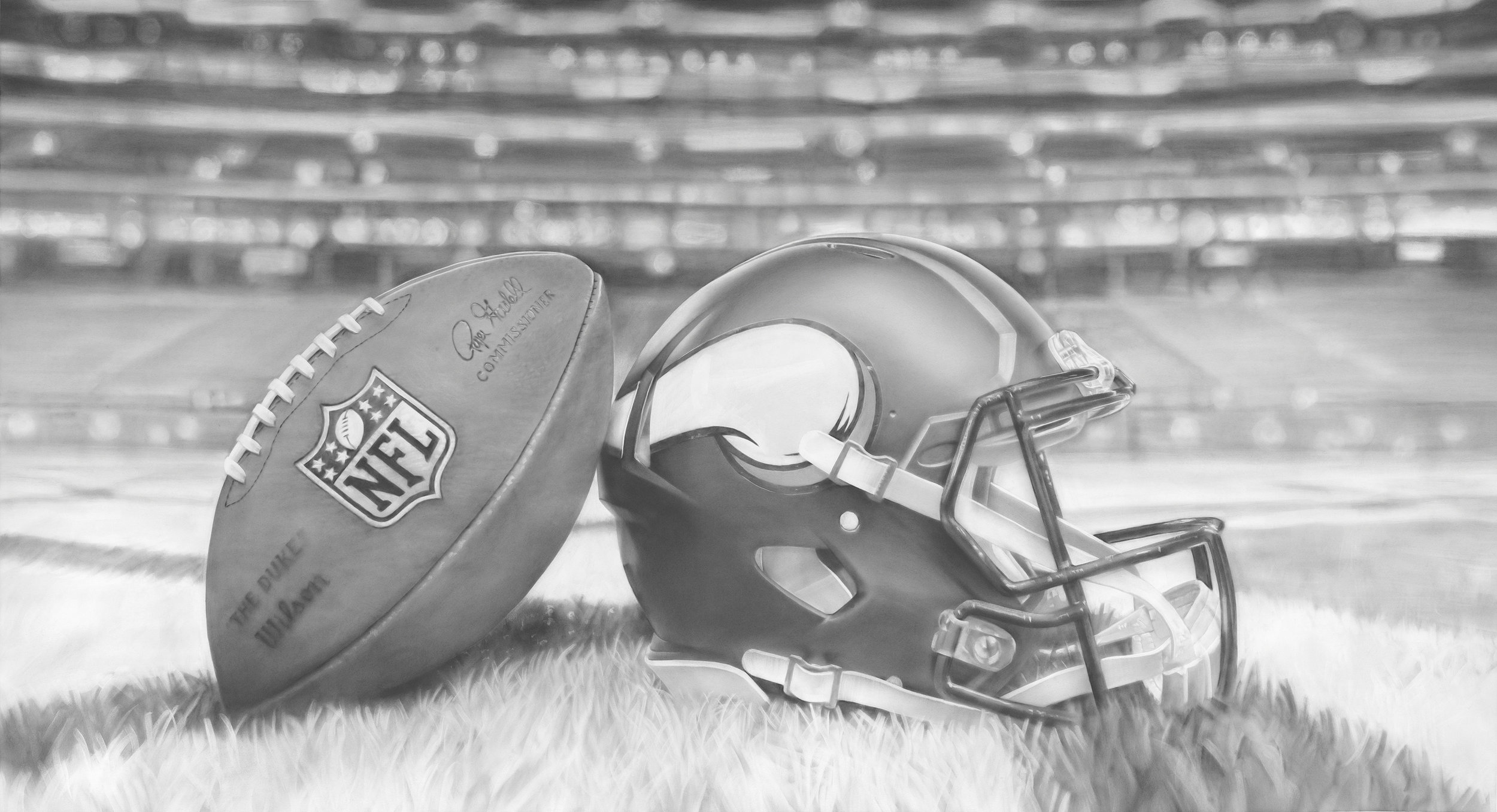 """""""50 Yard Line"""", Graphite on paper, 50 x 90 inches. Commission for the Minnesota Vikings TCO Performance Center. 2018."""