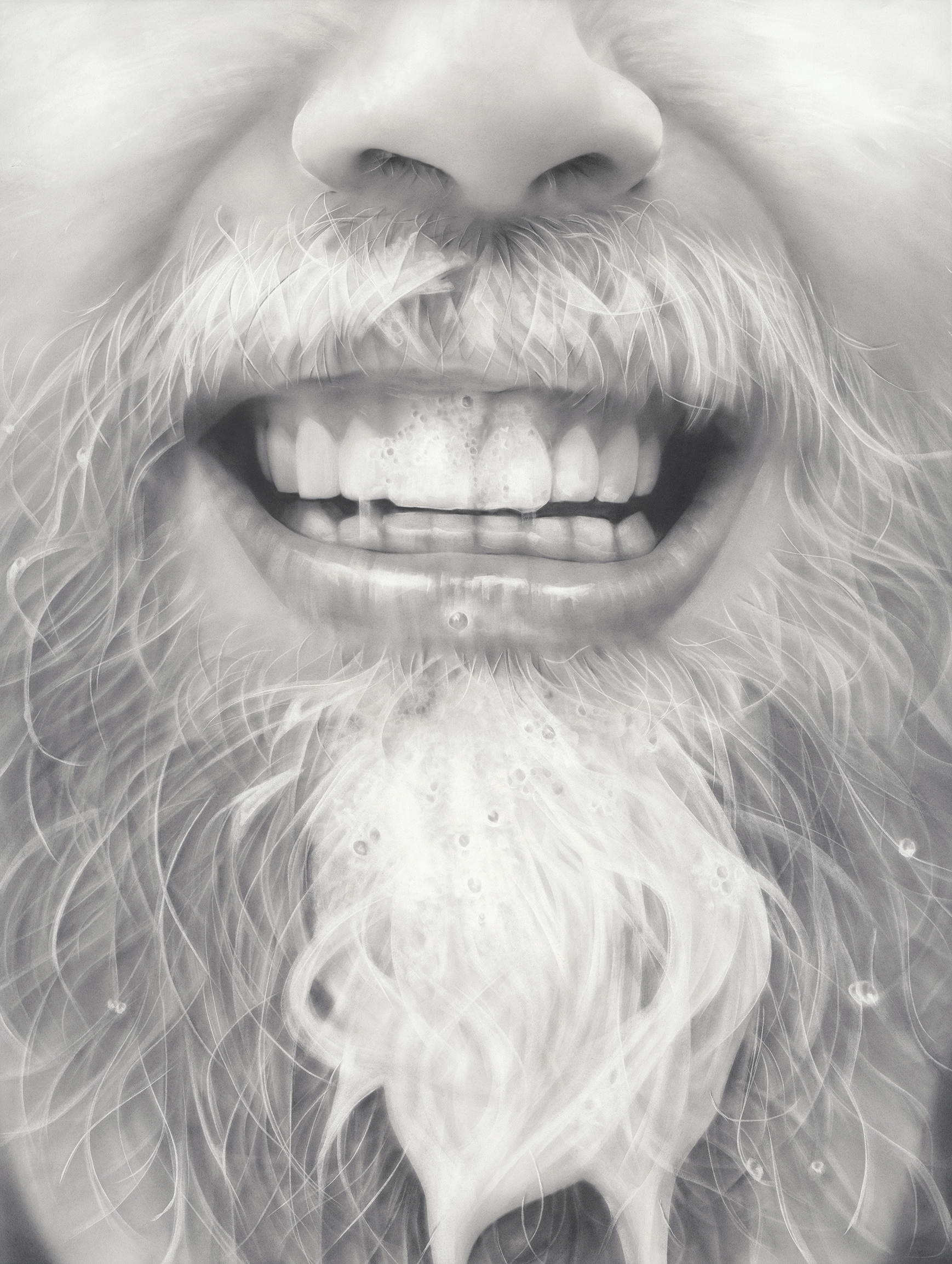 """""""Papa Beard"""", Graphite on paper, 50 x 38 inches. 2017."""