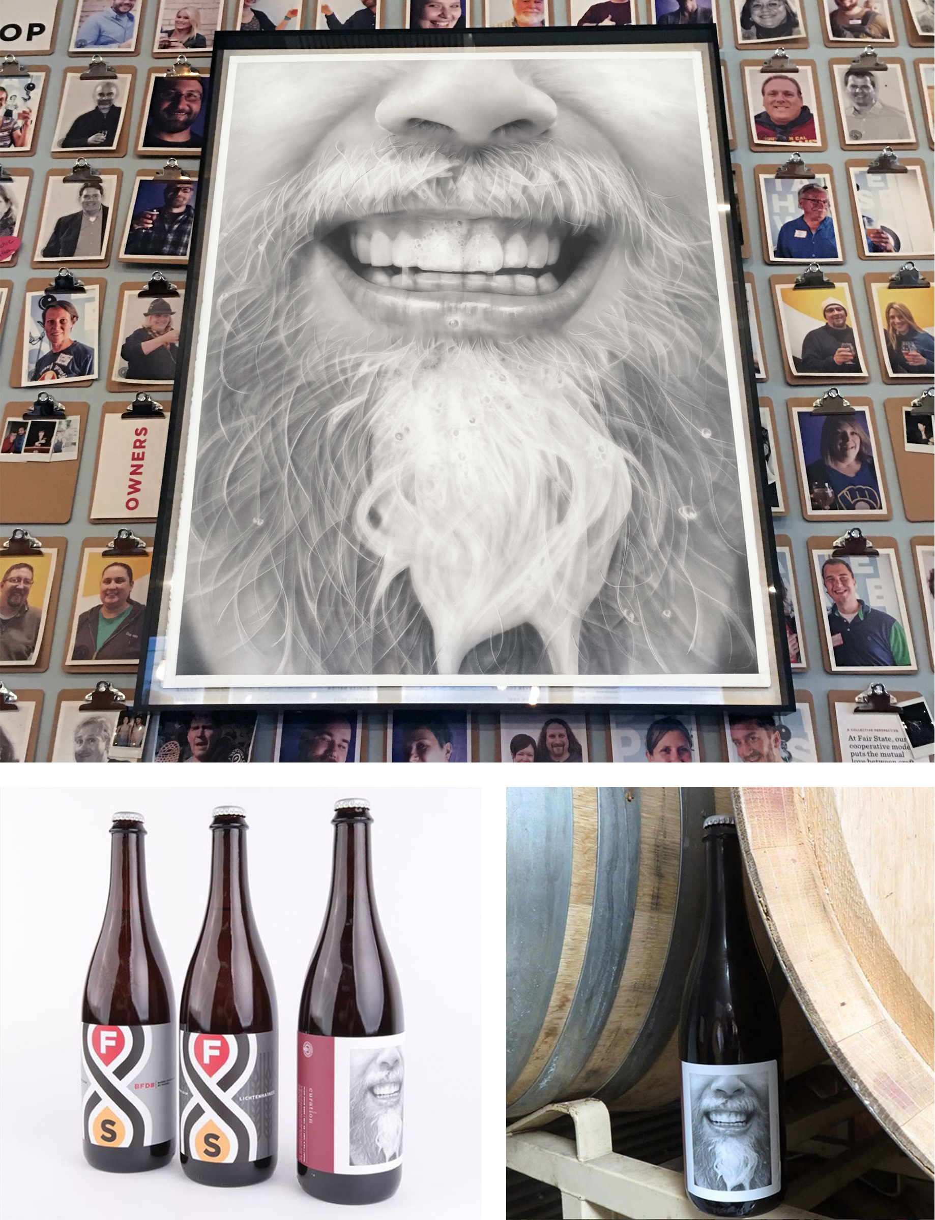Installation at Fair State Brewing and limited edition bottle release.