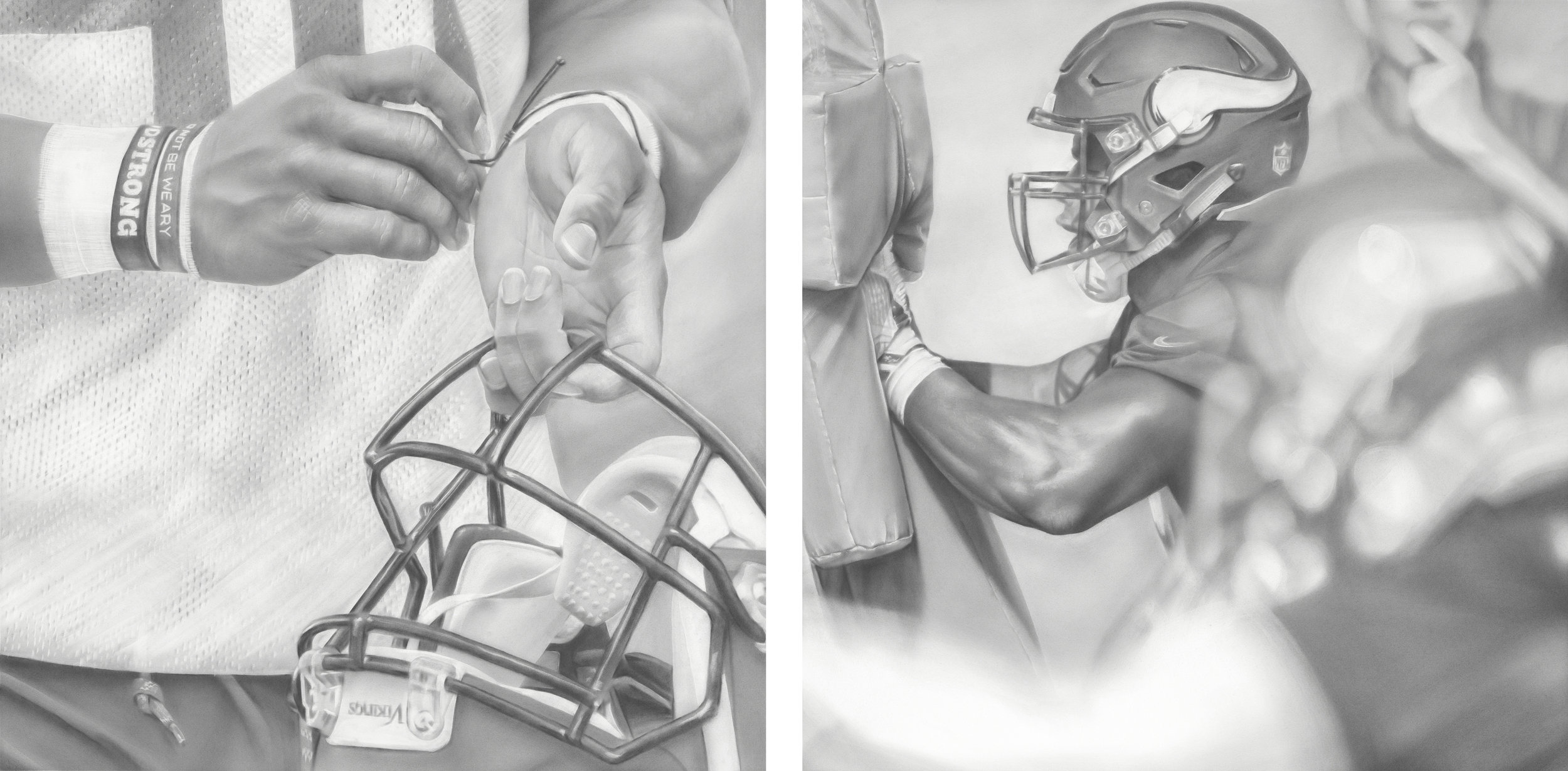"""""""Viking Strong"""" and """"Sled (Push It)"""", Graphite on paper, 30 x 30 inches each. Commission for the Minnesota Vikings TCO Performance Center. 2018."""