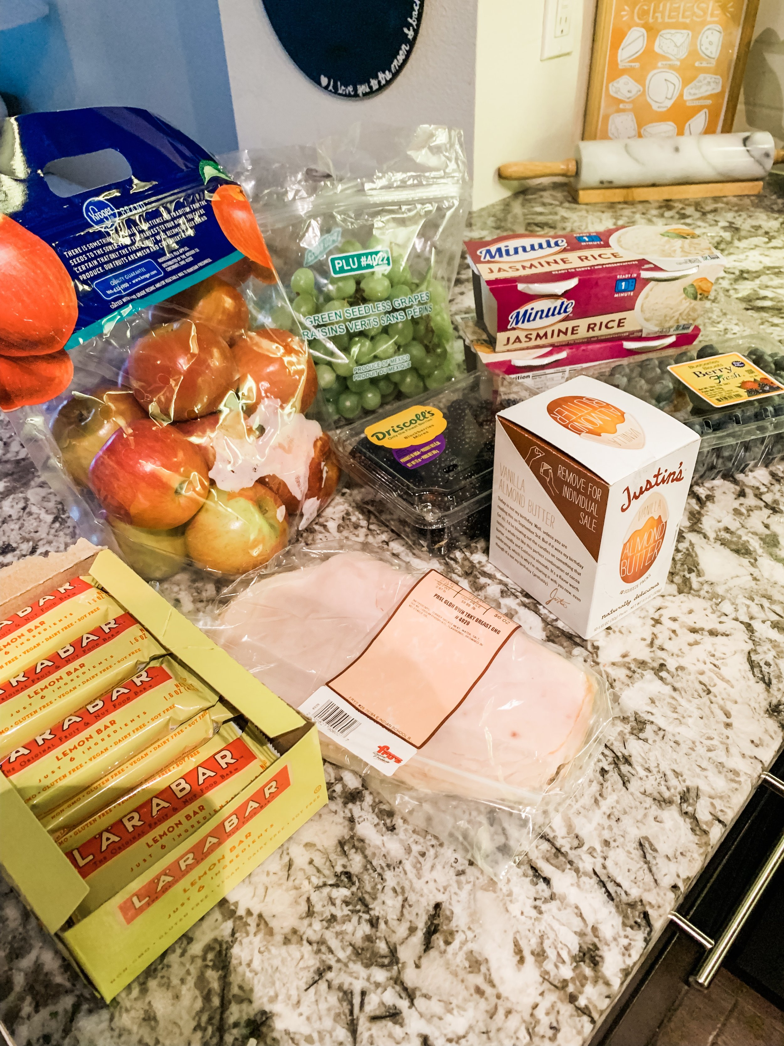 All the Snacks I packed for Disneyland - Almond ButterFruitsRiceProtein BarsTurkeyLots of Zip Fizz