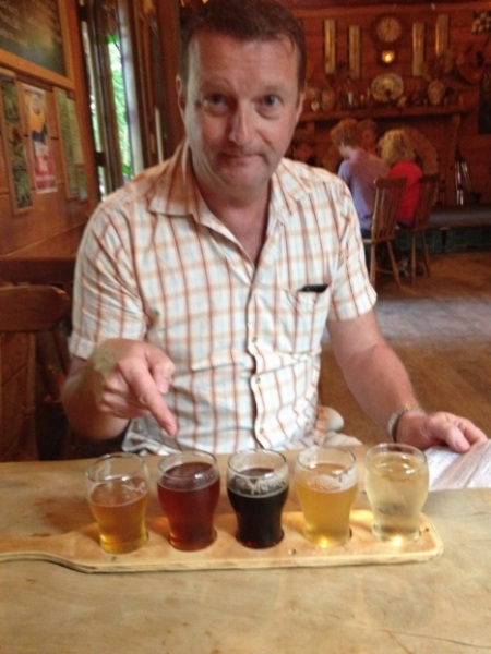 David with a tasting paddle from The Mussel Inn, Golden Bay, New Zealand.