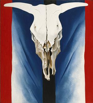 Georgia O'Keeffe Red White and Blue Skull