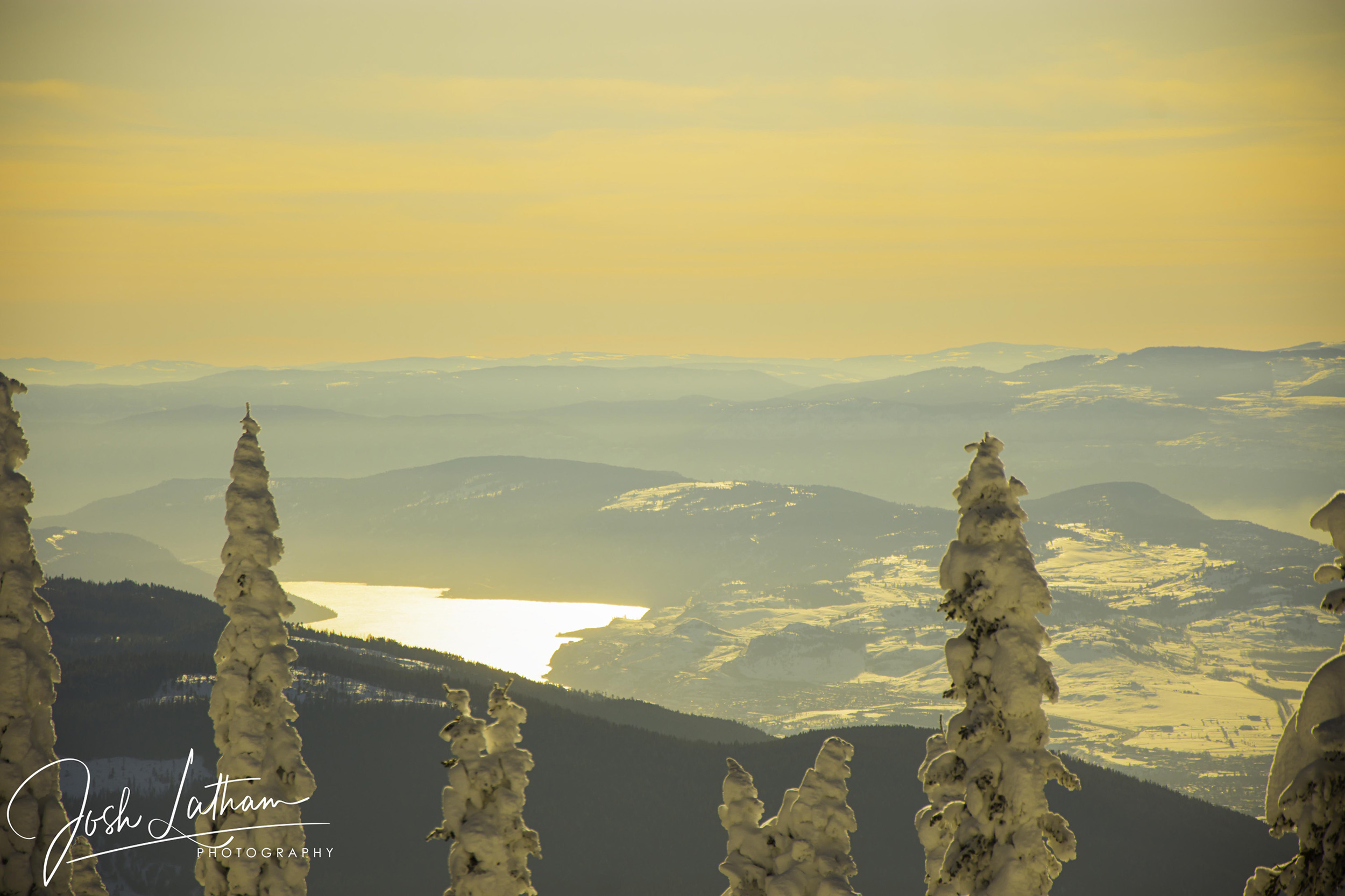 Beautiful views on a hazy day at Silver Star Mountain Resort, BC, Canada