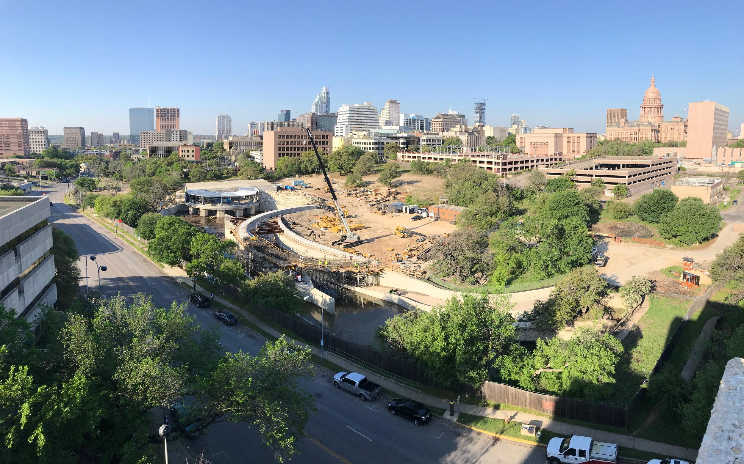 photo credit: Peter Mullan  If you're interested in a birds-eye view of Waterloo Park as it emerges, including breathtaking vistas of downtown and the Texas State Capitol, I'll let you in on a secret. Head to the seventh floor of the parking garage at the corner of 15th and Red River Streets (the old Brackenridge parking garage that continues to serve as the parking garage for the new Dell Seton Medical Center).