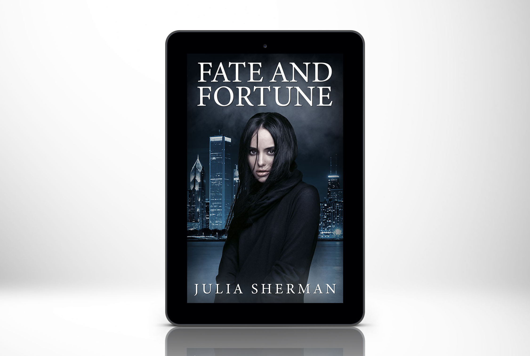 eBook Cover Design - Fate and Fortune is a novel about a mysterious woman who begins impacting the lives of four strangers who were the survivors of a coffee shop shooting.The author wanted to use an image of a mysterious woman with black hair and an image of the Chicago skyline. I selected these images and combined them to create this eBook cover. I formatted the cover art  for the author to easily upload to Amazon's self-publishing service.