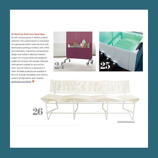 Going into the weekend with @interiorssource and the custom Los Cabos Bench by Akele. Thank you Interiors and Sources Magazine 👍👌👊 . . . #outdoorfurniture #hospitalitydesign #askusaboutcustomwork